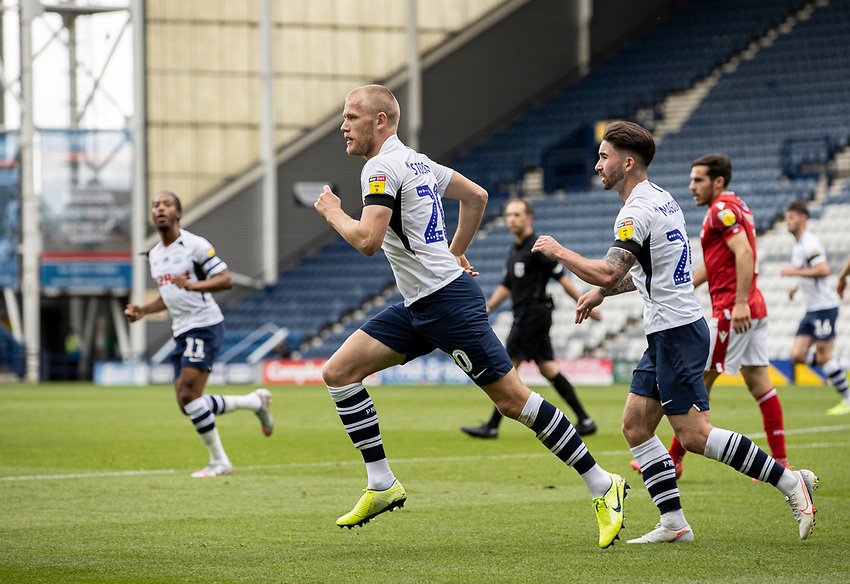 Preston North End's Jayden Stockley (centre) celebrates scoring his side's first goal with team mate Sean Maguire <br /> <br /> Photographer Andrew Kearns/CameraSport<br /> <br /> The EFL Sky Bet Championship - Preston North End v Nottingham Forest - Saturday 11th July 2020 - Deepdale Stadium - Preston <br /> <br /> World Copyright © 2020 CameraSport. All rights reserved. 43 Linden Ave. Countesthorpe. Leicester. England. LE8 5PG - Tel: +44 (0) 116 277 4147 - admin@camerasport.com - www.camerasport.com