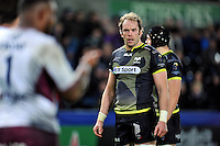 Alun Wyn Jones of the Ospreys looks on during a break in play. European Rugby Champions Cup match, between the Ospreys and Bordeaux Begles on December 12, 2015 at the Liberty Stadium in Swansea, Wales. Photo by: Patrick Khachfe / JMP