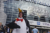 8th June 2017, Pittsburgh, PA, USA; Spencer Stirewald from Wilkes-Barre, Pennsylvania, dresses as a penguin before Game Five of the 2017 NHL Stanley Cup Final between the Nashville Predators and the Pittsburgh Penguins on June 8, 2017, at PPG Paints Arena