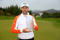 Oliver Wilson (ENG) winner of the Monaghan Irish Challenge, Concra Wood, Monaghan, Ireland. 7-10-2018.<br /> Picture Fran Caffrey / Golffile.ie<br /> <br /> All photo usage must carry mandatory copyright credit (© Golffile | Fran Caffrey)