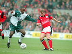 Ian Woan of Nottingham Forest tussles with Michael Thomas of Liverpool - Premier League - Nottingham Forest v Liverpool - City Ground - Nottingham - England - 23rd March 1996 - Picture Simon Bellis/Sportimage