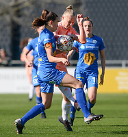 20190324 - OOSTAKKER , BELGIUM : Anderlecht's Ella van Kerkhoven (r) pictured in a duel with Gent's Silke Vanwynsberghe during the quarter final of Belgian cup 2019 , a womensoccer game between KAA Gent Ladies and RSC Anderlecht , at the PGB stadion in Oostakker , sunday 24 th March 2019 . PHOTO SPORTPIX.BE | DAVID CATRY