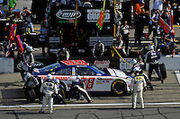 Dale Earnhardt,Jr. (#88) makes a pit stop.