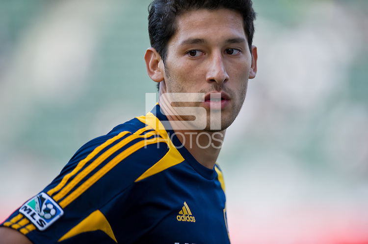 CARSON, CA - July 4, 2012: LA Galaxy defender Omar Gonzalez (4) prior to the LA Galaxy vs Philadelphia Union match at the Home Depot Center in Carson, California. Final score LA Galaxy 1, Philadelphia Union 2.