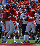 Rod Taylor congratulates A.J. Brown after he scored a touchdown during the game against UT Martin Sat., Sept. 9, 2017. Ole Miss wins 45-23. Photo by Marlee Crawford/Ole Miss Communications