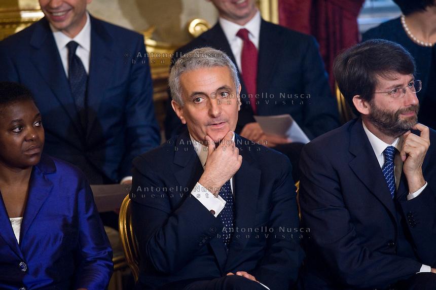 Gaetano Quagliariello, ministro delle Riforme Istituzionali durante la cerimonia del giuramento del nuovo Governo Letta nel Salone delle Feste del Quirinale.
