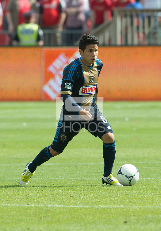 15 September 2012: Philadelphia Union midfielder Roger Torres #8 in action during an MLS game between the Philadelphia Union and Toronto FC at BMO Field in Toronto, Ontario..The game ended in a 1-1 draw..
