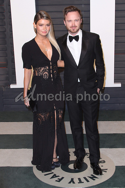 28 February 2016 - Beverly Hills, California - Aaron Paul, Lauren Parsekian. 2016 Vanity Fair Oscar Party hosted by Graydon Carter following the 88th Academy Awards held at the Wallis Annenberg Center for the Performing Arts. Photo Credit: AdMedia