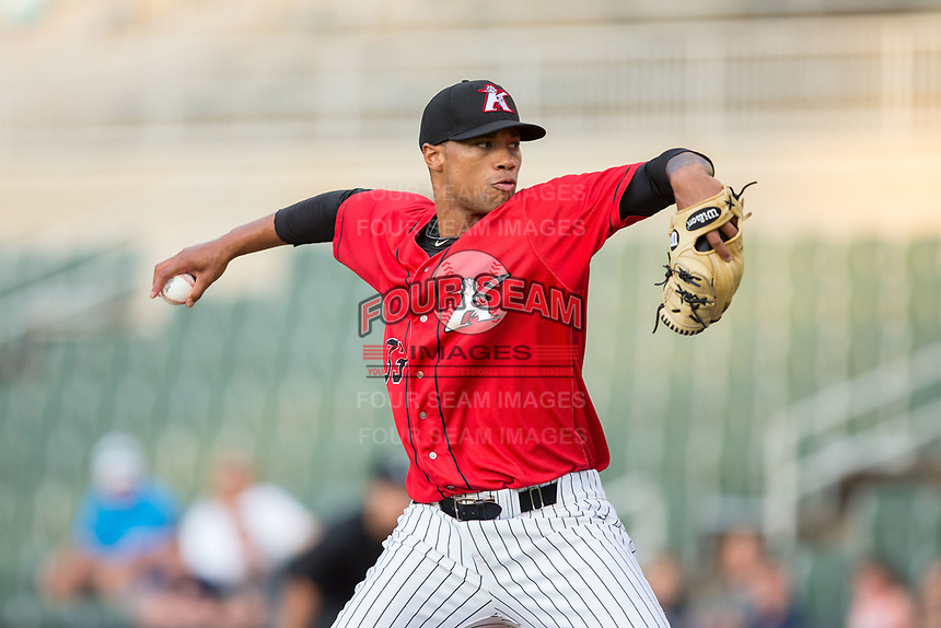 Kannapolis Intimidators starting pitcher Blake Hickman (33) in action against the West Virginia Power at Kannapolis Intimidators Stadium on June 17, 2017 in Kannapolis, North Carolina.  The Power defeated the Intimidators 6-1.  (Brian Westerholt/Four Seam Images)