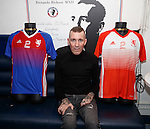 Fernando Ricksen at the Stonefield Taveren, Blantyre this afternoon as the players strips for his Rangers Legends v England Select benefit match are revealed. The match in Fleetwood on March 25th will raise funds for Moror Neurone research