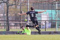 Manuel Luecke (Geinsheim) beim Torjubel - 31.03.2019: SV St Stephan Griesheim vs. SV 07 Geinsheim, Kreisoberliga Darmstadt/Gross-Gerau