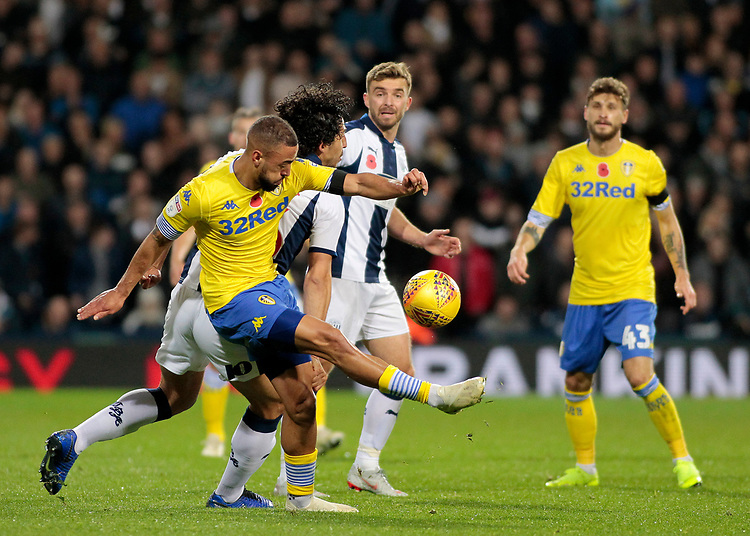 Leeds United's Kemar Roofe battles with West Bromwich Albion's Ahmed Hegazy<br /> <br /> Photographer David Shipman/CameraSport<br /> <br /> The EFL Sky Bet Championship - West Bromwich Albion v Leeds United - Saturday 10th November 2018 - The Hawthorns - West Bromwich<br /> <br /> World Copyright © 2018 CameraSport. All rights reserved. 43 Linden Ave. Countesthorpe. Leicester. England. LE8 5PG - Tel: +44 (0) 116 277 4147 - admin@camerasport.com - www.camerasport.com
