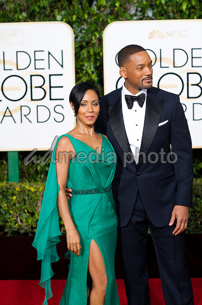 """Will Smith, Golden Globe Nominee in the category of BEST PERFORMANCE BY AN ACTOR IN A MOTION PICTURE - DRAMA for """"Concussion"""", and Jada Pinkett Smith arrive at the 73rd Annual Golden Globe Awards at the Beverly Hilton in Beverly Hills, CA on Sunday, January 10, 2016. Photo Credit: HFPA/AdMedia"""