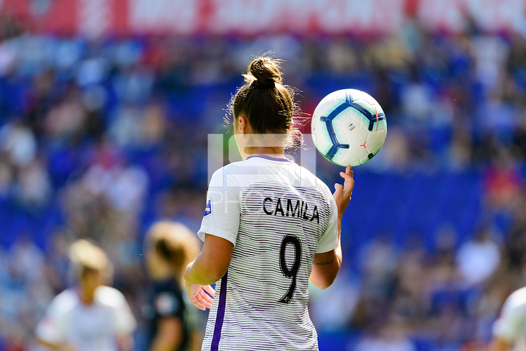 HARRISON, NJ - SEPTEMBER 29: Camila Martins Pereira #9 of the Orlando Pride on a throw in during a game between Orlando Pride and Sky Blue FC at Red Bull Arena on September 29, 2019 in Harrison, New Jersey.