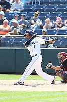 P.J. Jones (1) of the Everett AquaSox bats during a game against the Vancouver Canadians at Everett Memorial Stadium on July 28, 2015 in Everett, Washington. Everett defeated Vancouver, 8-5. (Larry Goren/Four Seam Images)