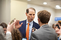 United States Senator Ron Wyden, Democrat of Oregon, talks to reporters in the Senate Subway during a Senate vote on Capitol Hill in Washington, DC on July 7, 2018. <br /> CAP/MPI/RS<br /> &copy;RS/MPI/Capital Pictures