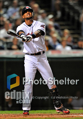 12 September 2008: Cleveland Indians' outfielder Franklin Gutierrez in action against the Kansas City Royals at Progressive Field in Cleveland, Ohio. The Indians defeated the Royals 12-5 in the first game of their 4-game series...Mandatory Photo Credit: Ed Wolfstein Photo