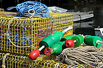 Lobster Pots and Buoys on Dock in Maine, USA