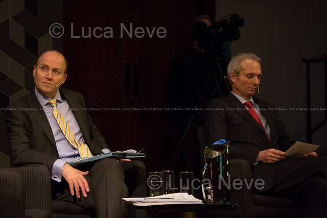 (From L to R) George Parker and David Lidington. <br /> <br /> London, 06/02/2014. Today, the 44th &quot;Citizens' Dialogue&quot; took place at The Royal Institution (RI) in London hosted by Viviane Reding (Luxembourg politician, currently serving as the European Commission Vice-President and European Commissioner for Justice, Fundamental Rights and Citizenship; member of the European People's Party, EPP) and David Lidington (British Minister for Europe; member of the Conservative Party). About 400 people, moderated by Financial Times Political Editor George Parker, discussed with the two politicians about the future of Europe, citizens' rights, the recovery from the economic crisis, present and future of the UK inside the European Union.<br /> <br /> For more information and for the video of the event please click here: http://bit.ly/19boyhd