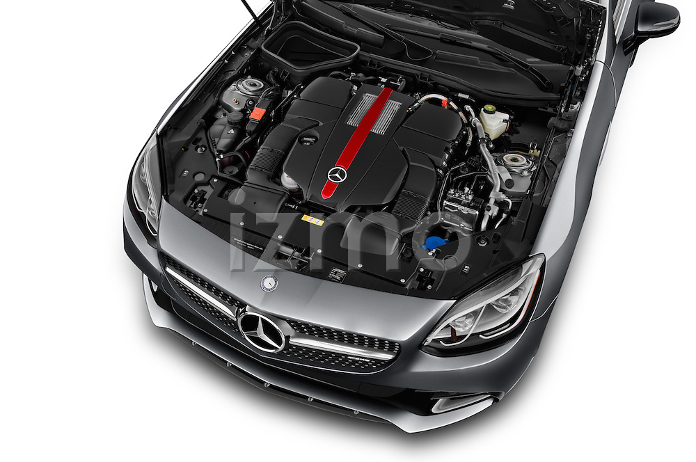 Car Stock 2017 Mercedes Benz SLC-Roadster AMG-SLC43 2 Door Convertible Engine  high angle detail view