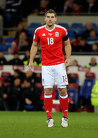 Sam Vokes of Wales in action during the 2018 FIFA World Cup Qualifier between Wales and Serbia at the Cardiff City Stadium, Wales, UK. Saturday 12 November 2016