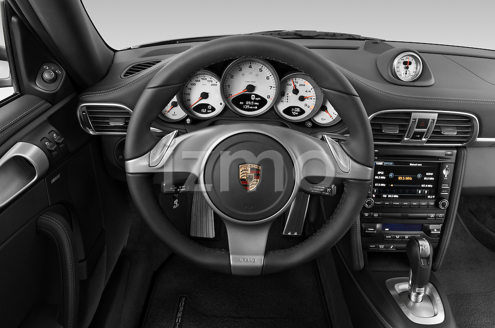 Steering wheel view of a 2009 Porsche Carrera 4S Coupe