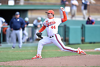 Clemson Tigers starting pitcher Matthew Crownover (44) delivers a pitch during a game against the Notre Dame Fighting Irish during game one of a double headers at Doug Kingsmore Stadium March 14, 2015 in Clemson, South Carolina. The Tigers defeated the Fighting Irish 6-1. (Tony Farlow/Four Seam Images)