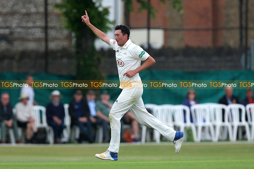 Mark Footitt of Suurey celebrates taking the wicket of James Foster during Surrey CCC vs Essex CCC, Specsavers County Championship Division 1 Cricket at Guildford CC, The Sports Ground on 10th June 2017