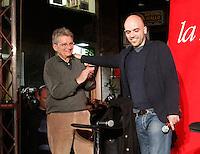 NAPOLI 15/04/2013 ROBERTO SAVIANO RITORNA AL DIALOGO CON LA SUA CITTA PER PRESENTARE IL SUO NUOVO  LIBRO ZERO ZERO ZERO<br /> NELLA FOTO CON ADRIANO SOFRI . ***<br /> The Gomorra's  writer Roberto Saviano came back in  Naples after seven years, . The occasion was the presentation of his latest book ZeroZeroZero
