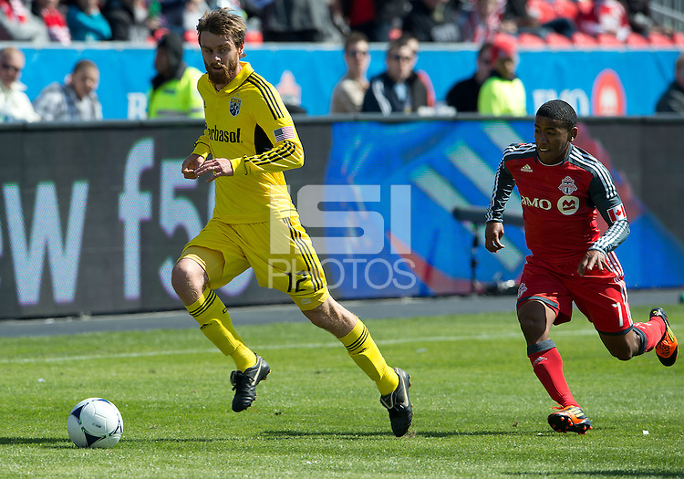 31 March 2011: Columbus Crew midfielder/forward Eddie Gaven #12 and Toronto FC forward Joao Plata #7 in action during a game between the Columbus Crew and the Toronto FC at BMO Field in Toronto, Ontario Canada..The Columbus Crew won 1-0.
