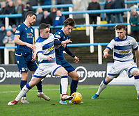 1st February 2020; Cappielow Park, Greenock, Inverclyde, Scotland; Scottish Championship Football, Greenock Morton versus Dundee Football Club; Oliver Crankshaw of Dundee challenges for the ball with Lewis Strapp of Greenock Morton