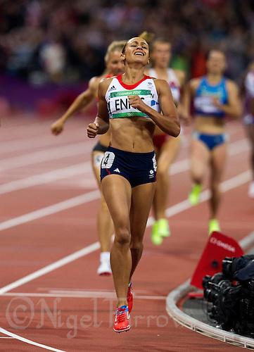 04 AUG 2012 - LONDON, GBR - Jessica Ennis (GBR) of Great Britain (centre) wins her Heptathlon 800m heat and the overall event at the London 2012 Olympic Games athletics at the Olympic Stadium in the Olympic Park, Stratford, London, Great Britain .(PHOTO (C) 2012 NIGEL FARROW)