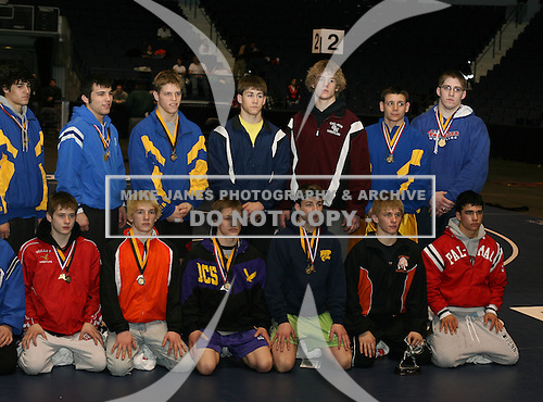 Section V poses for a photo after the NY State Wrestling Championship finals at Blue Cross Arena on March 9, 2008 in Rochester, New York.  (Copyright Mike Janes Photography)