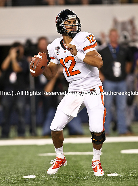 Oregon State Beavers quarterback Ryan Katz #12 preparing to pass during the game between the Oregon State Beavers and the TCU Horned Frogs at the Cowboy Stadium in Arlington,Texas. TCU defeated Oregon State 30-21.