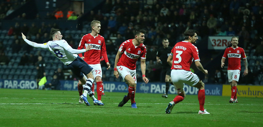 Preston North End's Alan Browne watches as his shot beats the Middlesbrough goalkeeper to open the scoring<br /> <br /> Photographer Stephen White/CameraSport<br /> <br /> The EFL Sky Bet Championship - Preston North End v Middlesbrough - Tuesday 27th November 2018 - Deepdale Stadium - Preston<br /> <br /> World Copyright © 2018 CameraSport. All rights reserved. 43 Linden Ave. Countesthorpe. Leicester. England. LE8 5PG - Tel: +44 (0) 116 277 4147 - admin@camerasport.com - www.camerasport.com