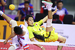 Yuki Sato (JPN),<br /> AUGUST 24, 2018 - Sepak takraw : <br /> Men's Doubles Preliminary match between Japan - Philippines<br /> at Jakabaring Sport Center Ranau Hall <br /> during the 2018 Jakarta Palembang Asian Games <br /> in Palembang, Indonesia. <br /> (Photo by Yohei Osada/AFLO SPORT)