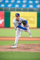 Midland RockHounds pitcher Daulton Jefferies (41) delivers a pitch on May 6, 2019, at Arvest Ballpark in Springdale, Arkansas. (Jason Ivester/Four Seam Images)