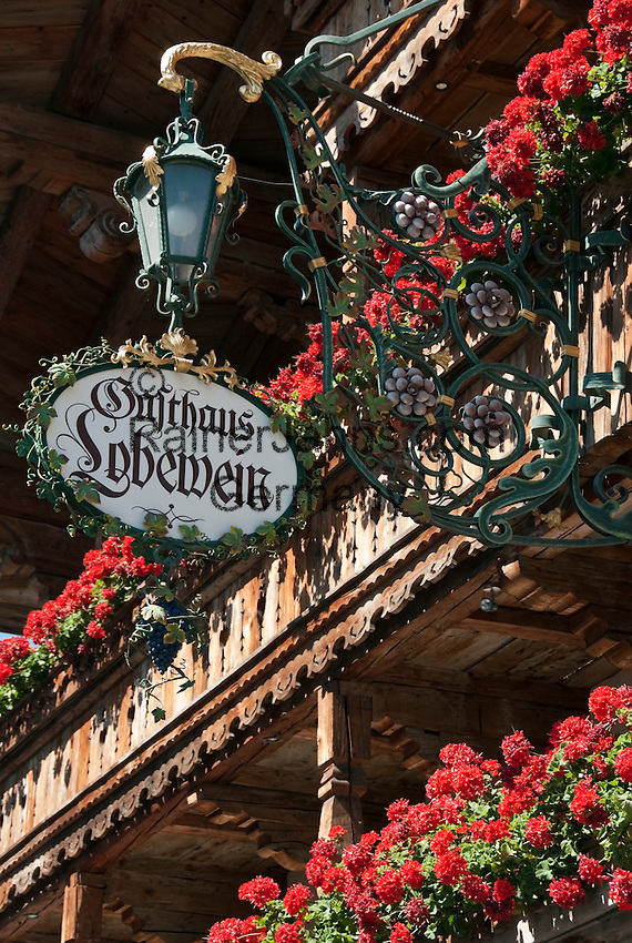 Austria, Tyrol, Ellmau: mountain inn Lobewein, balcony with flower boxes