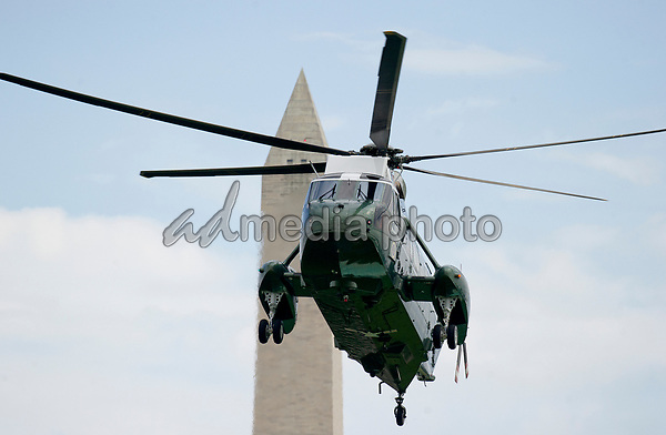 Marine One, with United States President Donald J. Trump aboard, arrives at the White House in Washington, DC on Friday, June 16, 2017.  Earlier in the day in Miami, Florida the President gave remarks and participated in a signing on the United States' policy towards Cuba. Photo Credit: Ron Sachs/CNP/AdMedia
