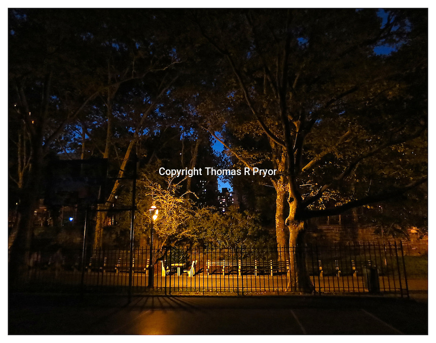 NEW YORK, NY - AUGUST 28: Carl Schurz Park hockey field at night in Yorkville, New York on August 28. Photo Credit: Thomas R Pryor