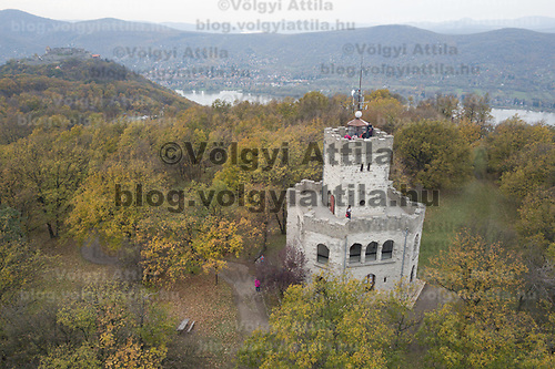Castle of Visegrad (back) is seen together with watchpoint Zsitvay in the autumn afternoon on an aerial photo taken near Visegrad (about 43 kilometres North of capital city Budapest), Hungary on Nov. 1, 2017. ATTILA VOLGYI