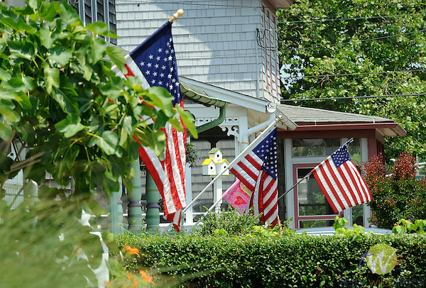 Broadway Street with American flags, Cape May, NJ