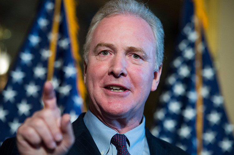 UNITED STATES - JULY 11: Sen. Chris Van Hollen, D-Md., and other Democratic senators, conduct a news conference in the Capitol to oppose the nomination of Brett Kavanaugh to the Supreme Court because they say he would be open to questions about the constitutionality of the Affordable Care Act on July 11, 2018. (Photo By Tom Williams/CQ Roll Call)??