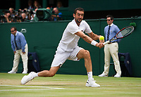 Marin Cilic (7) of Croatia in action against Sam Querrrey (24) of United States in their Men's Singles Semi Final Match today<br /> <br /> Photographer Ashley Western/CameraSport<br /> <br /> Wimbledon Lawn Tennis Championships - Day 11 - Friday 14th July 2017 -  All England Lawn Tennis and Croquet Club - Wimbledon - London - England<br /> <br /> World Copyright &not;&copy; 2017 CameraSport. All rights reserved. 43 Linden Ave. Countesthorpe. Leicester. England. LE8 5PG - Tel: +44 (0) 116 277 4147 - admin@camerasport.com - www.camerasport.com