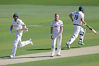 Stuart Broad and Luke Fletcher add to the Notts total as Sam Cook looks on during Essex CCC vs Nottinghamshire CCC, Specsavers County Championship Division 1 Cricket at The Cloudfm County Ground on 14th May 2019