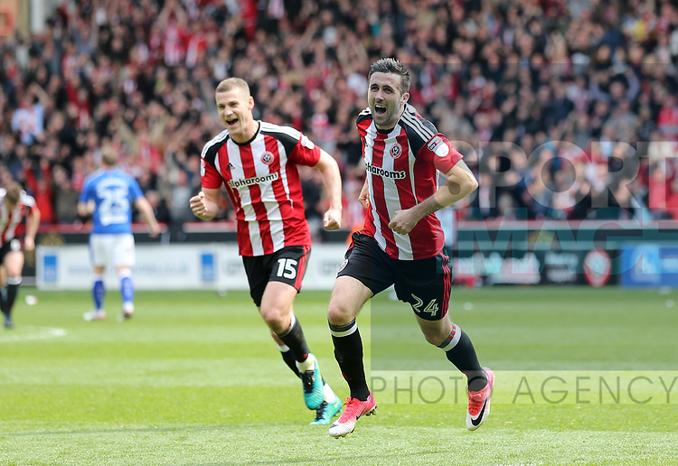 Sheffield United's Daniel Lafferty celebrates scoring his sides third goal during the League One match at Bramall Lane, Sheffield. Picture date: April 30th, 2017. Pic David Klein/Sportimage
