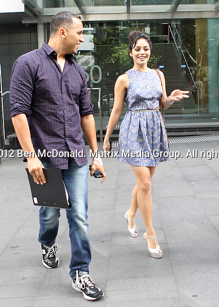 18/1/2012. Sydney, Australia...NON EXCLUSIVE..Vanessa Hudgens leaves 2Day Fm radio station after interview with Kyle & jackie O