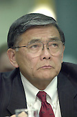 Washington, DC - January 24, 2001 -- Norman Mineta, Secretary of Transportation-designate listens to opening remarks during his confirmation hearing before the U.S. Senate Commerce, Science and Transportation Committee<br /> Credit: Ron Sachs / CNP