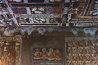 "Ajanta, a UNESCO world heritage site, is famous for its Buddhist rock-cut cave temples and monasteries with their extraordinary wall paintings. The temples are hollowed out of granite cliffs on the inner side of a 20-meter ravine in the Wagurna River valley, 105 km northeast of Aurangabad, at a site of great scenic beauty. About 30 caves were excavated between the 1st century BCE and the 7th century CE and are of two types, caityas (""sanctuaries"") and viharas (""monasteries""). Although the sculpture, particularly the rich ornamentation of the caitya pillars, is noteworthy, it is the fresco-type paintings that are the chief interest of Ajanta. These paintings depict colorful Buddhist legends and divinities with an exuberance and vitality that is unsurpassed in Indian art.†[Adapted from Encyclopedia Britannica]"