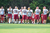 Ashburn, VA - July 20, 2008 -- Members of the offensive line surround Coach Joe Bugel during the morning session of the opening day of the 2008 Washington Redskins training camp at Redskins Park in Ashburn Virginia on Sunday, July 20, 2008..Credit: Ron Sachs / CNP